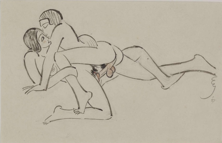 Draft of a coupling couple by Eric Gill