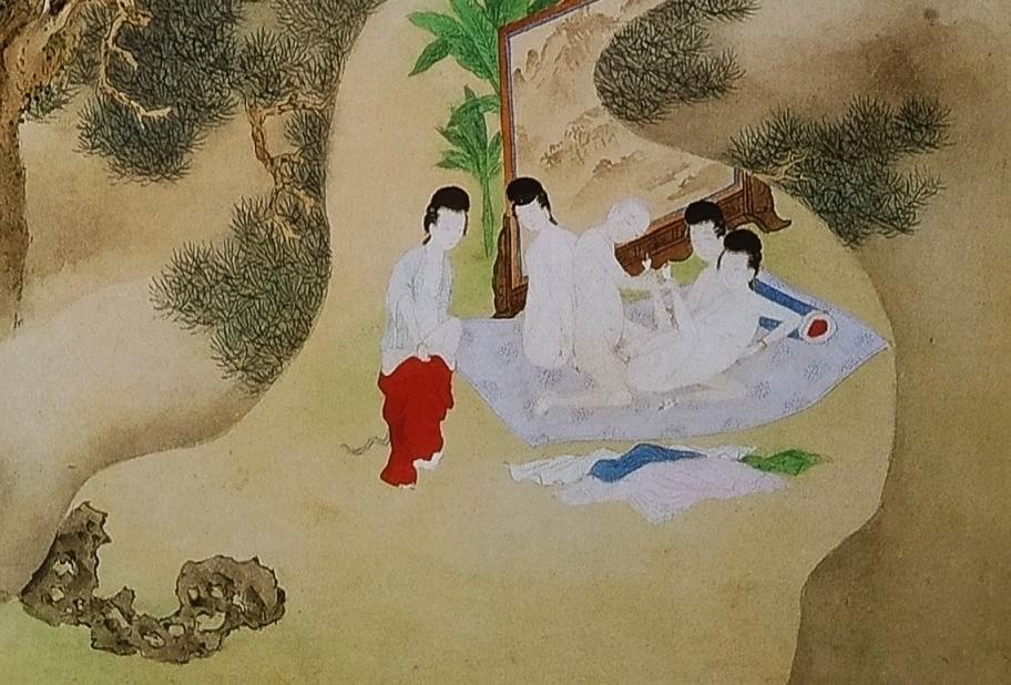 dream orgy Chinese erotic painting