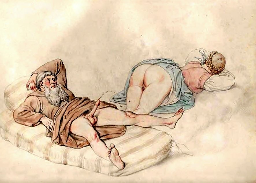 ejaculating monk erotic art