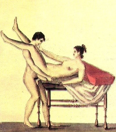 Erotic fresco of Pompeii, man and woman copulating in a standing missionary pose