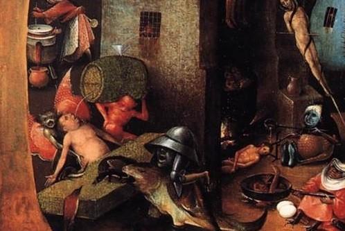 erotic Hieronymous Bosch drinking pee
