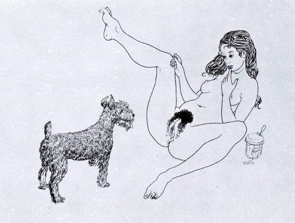 erotic drawings Mario Tauzin girl with a dog