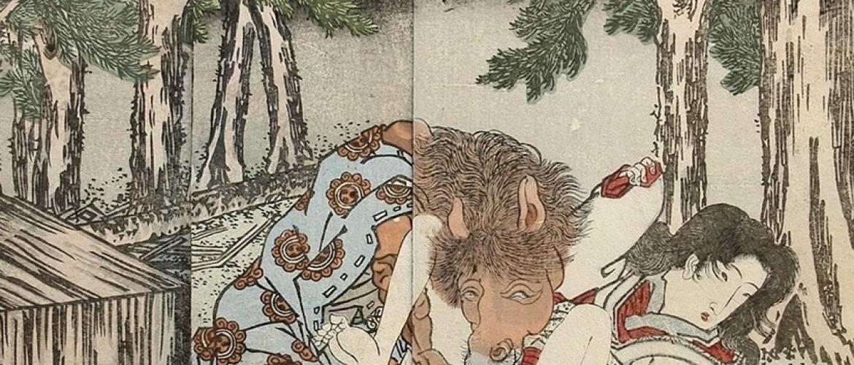 Mysterious Warai-e Depicting a Horse Performing Cunnilingus
