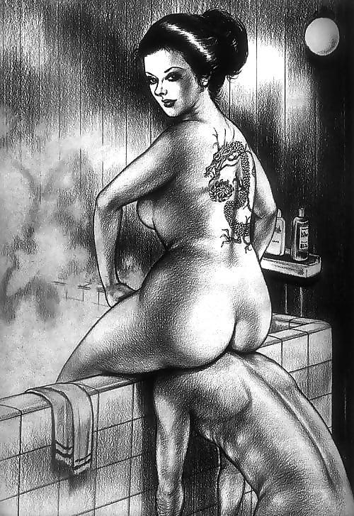 face sitting tattooed geisha
