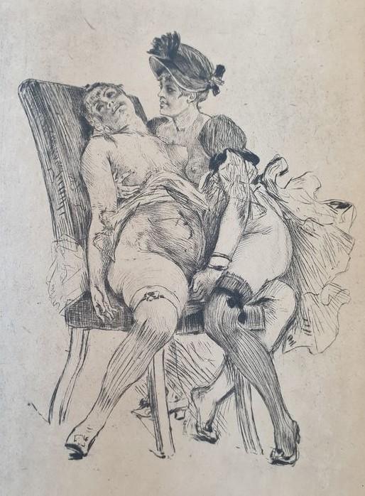 Felicien rops pictures: etching 'En visit'