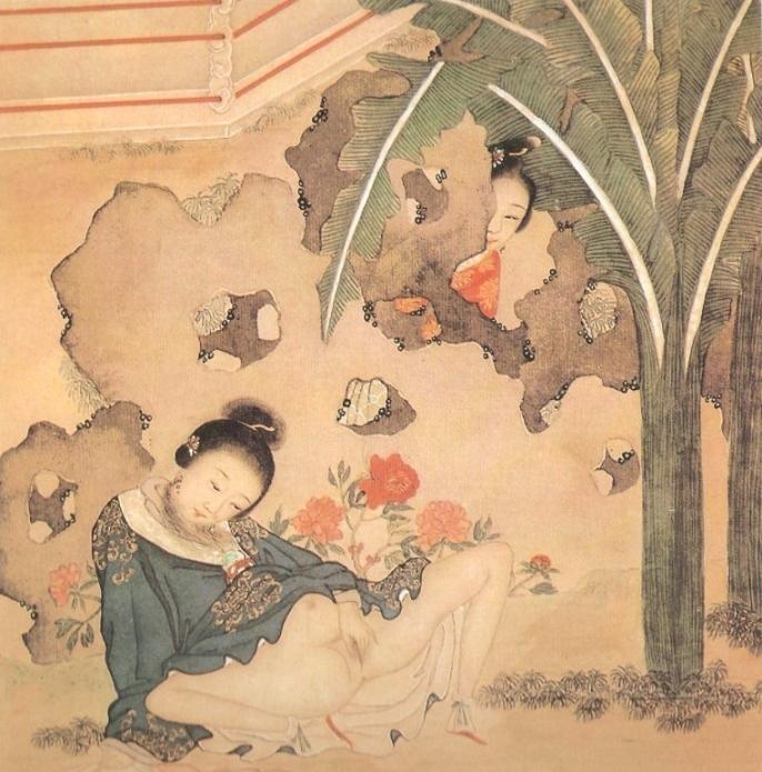 female masturbating Chinese erotic painting