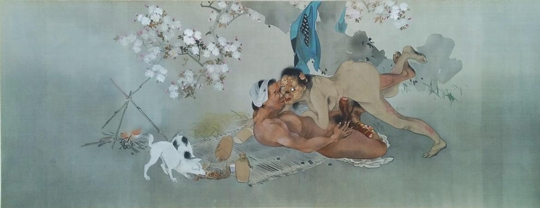 Female Yokai with evil man erotic