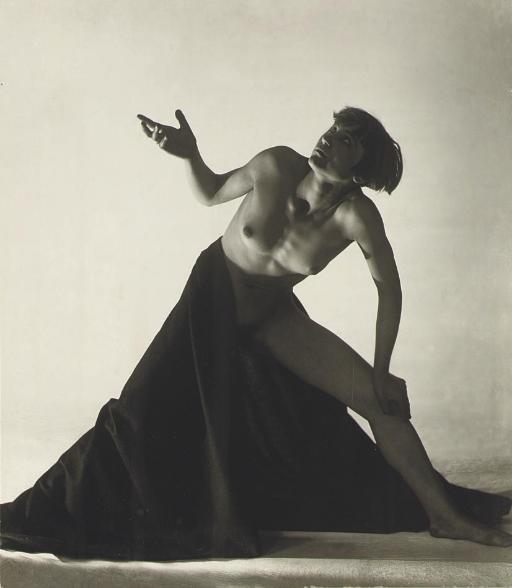 František Drtikol nude with draped leg
