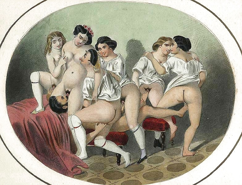 French erotic painting one man with six women