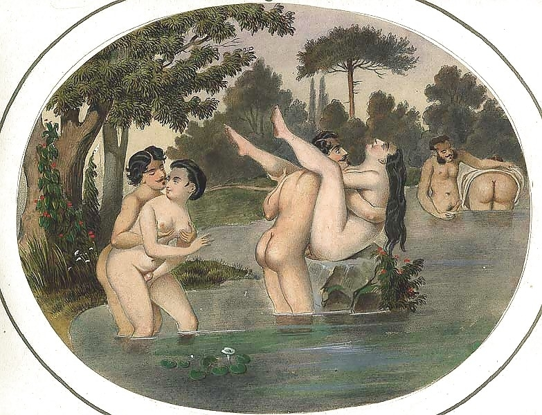 French erotic painting orgy in the stream