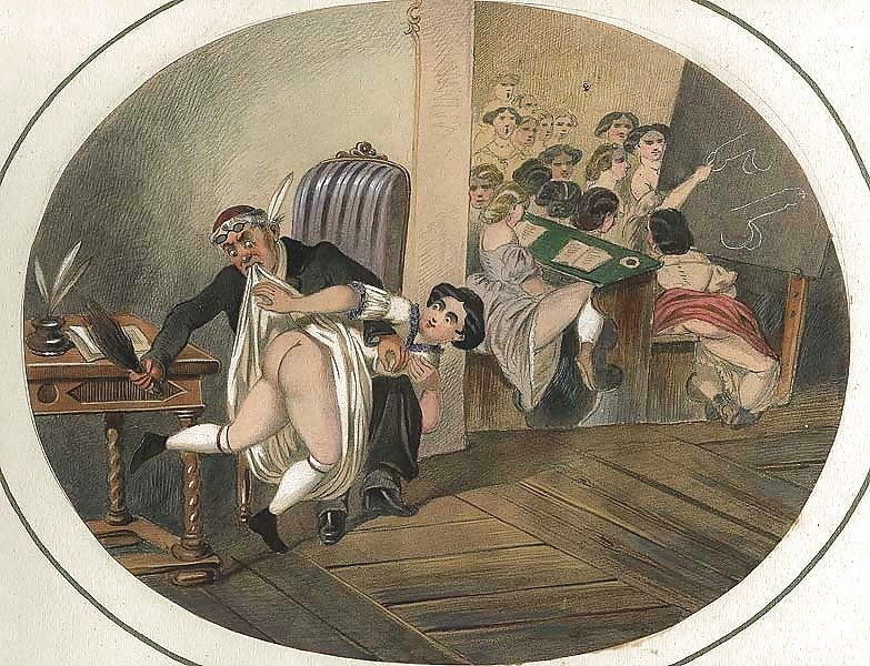 French erotic painting spanking