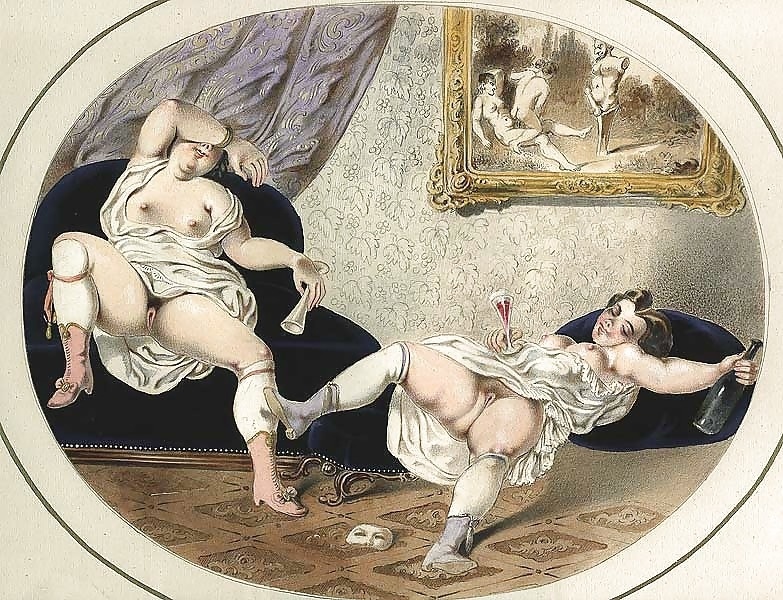 French erotic painting two drunken ladies