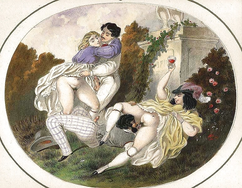 French erotic painting two horny couples in the park