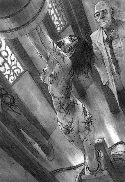 frightened girl bondage art