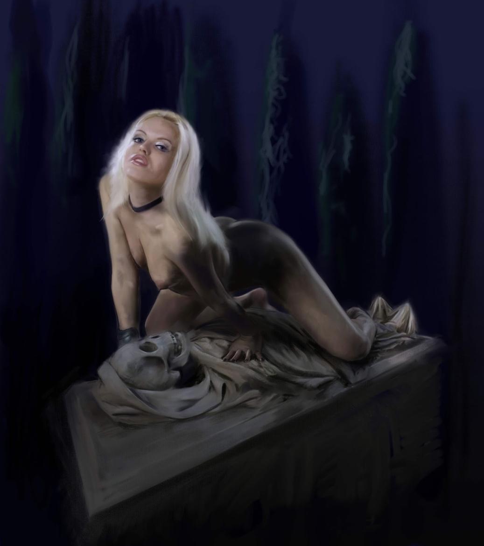 Galan Eyacule Moonlight on a grave