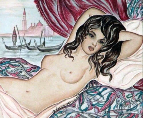Genia Minache Reclining nude with boats