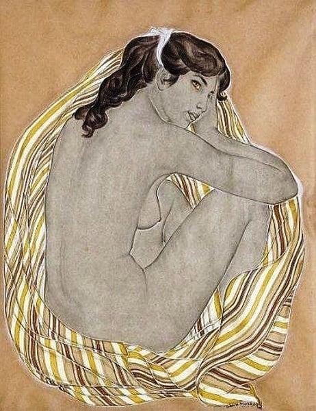 Genia Minache seated nude