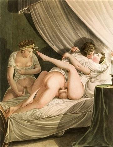 Georg Opiz aroused woman watching lovemaking couple