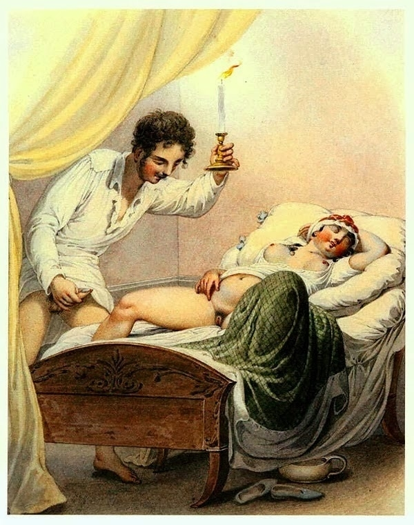 Georg Opiz erotic scene with a sleeping woman