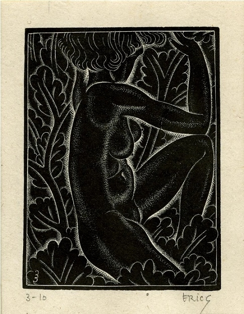 Girl sitting in leaves: Belle sauvage I by Eric Gill