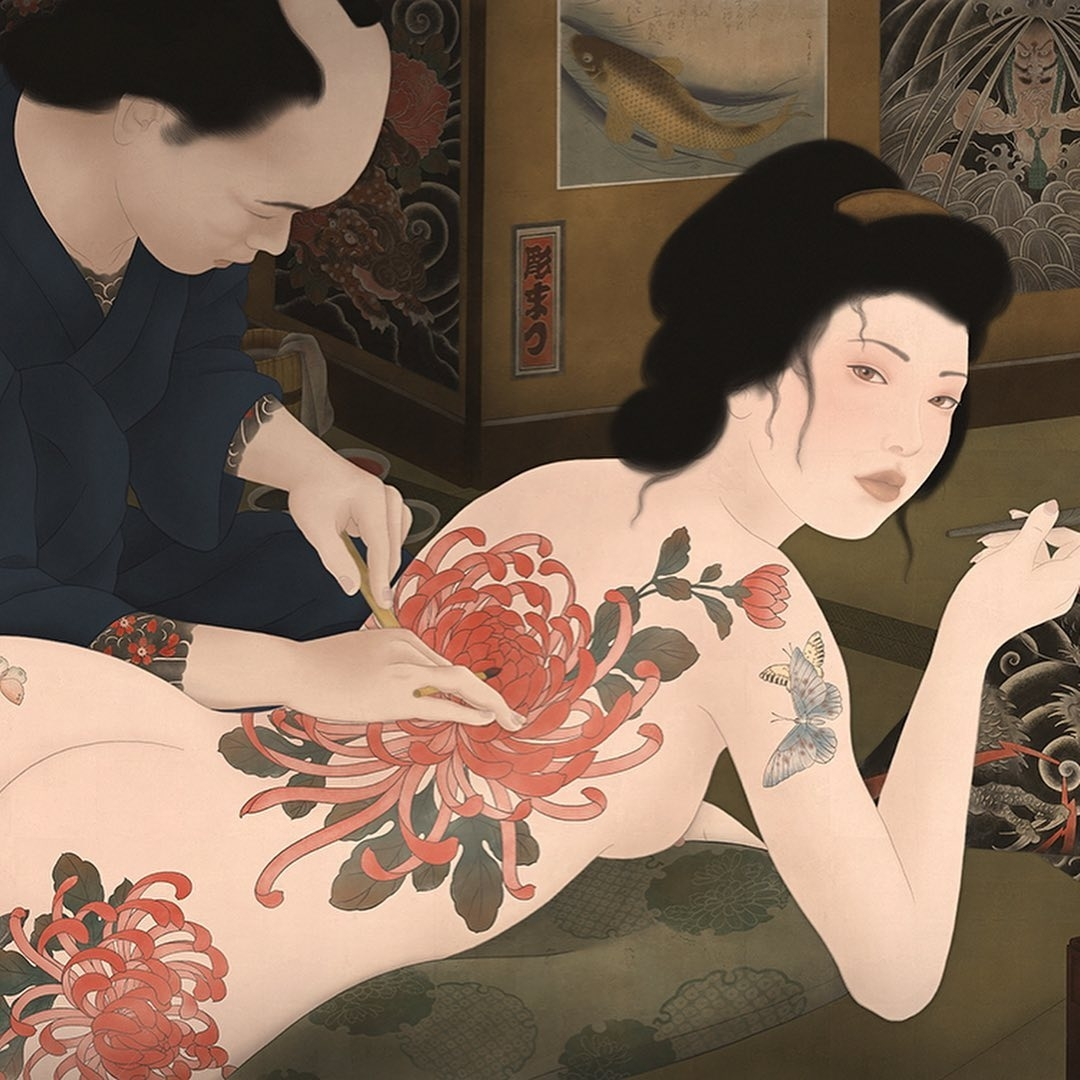 girl with the peony tattoo