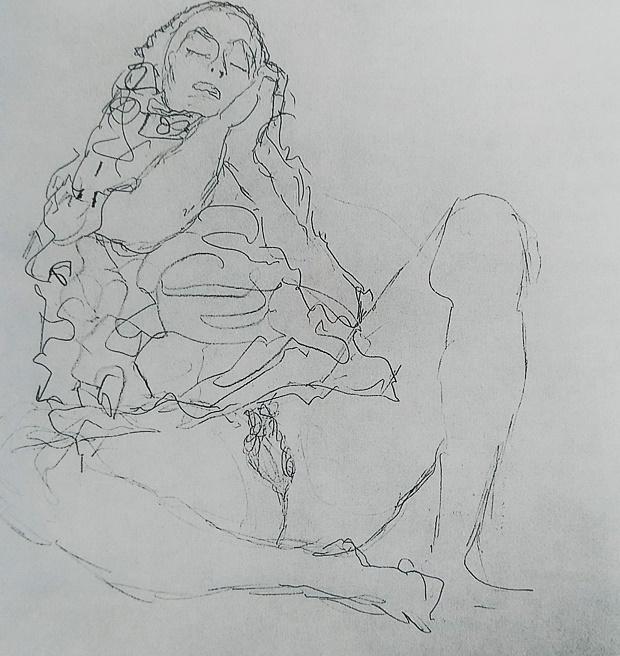 gustav klimt sitting nude