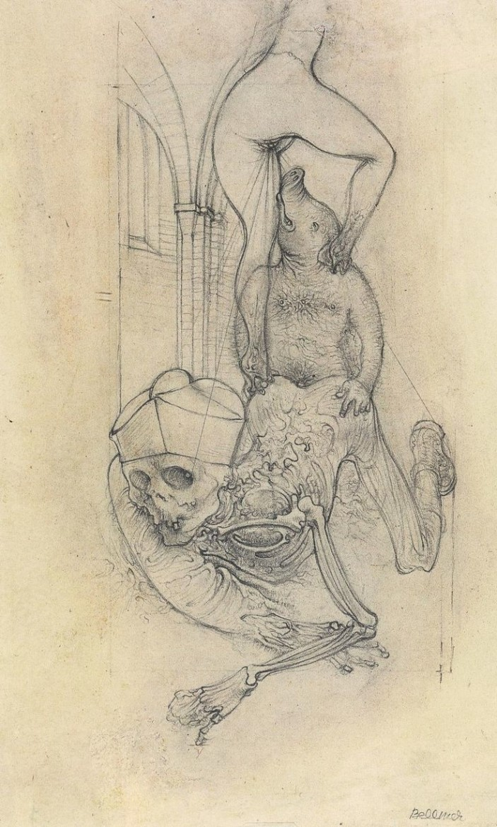 Hans Bellmer: drawing of a pig coupling with a skeleton