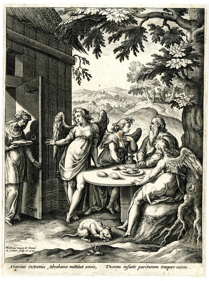 Hendrick Goltzius The annunciation of Isaac's birth to Abraham
