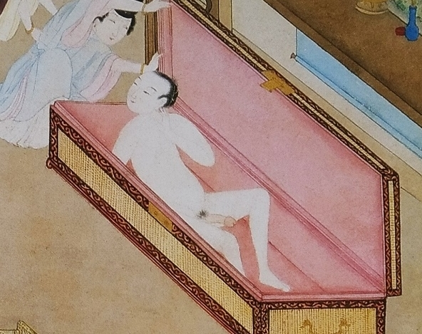 hiding in a book case Chinese erotic art