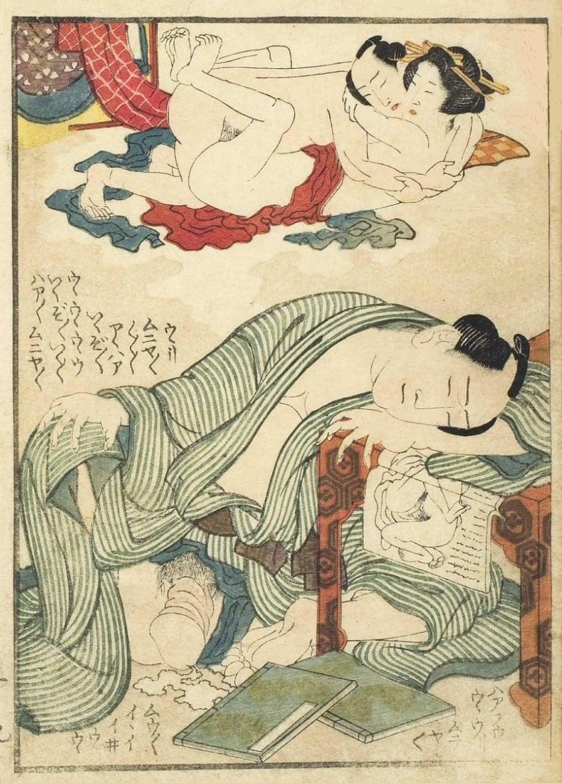 Hokusai erotic dream scene