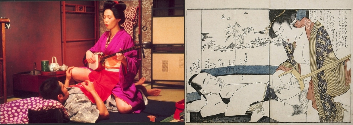 In the Realm of the Senses, Ishida with Abe playing the shamisen on top