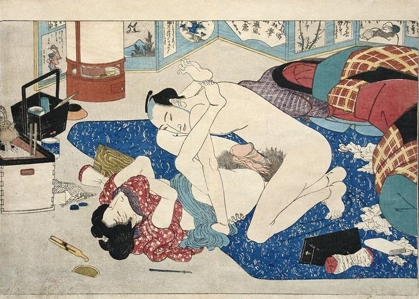 """Insatiable lovers by Kunisada (""""Shunka shuto: Shiki no nagame"""