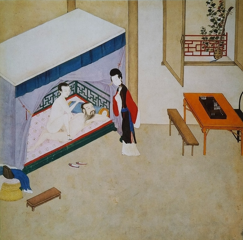 intimate brothel keeper Chinese erotic painting