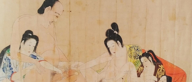 Four Desiring Bathing Ladies and a Nun by the Iwasa Matabei School