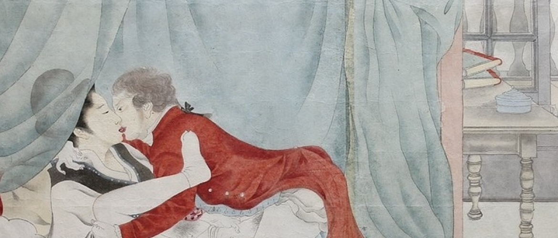 Realistic Japanese Erotic Painting of the Dutch VOC Head Jan Cock Blomhoff