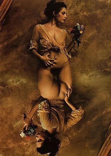 Jan Saudek mirroring female nude