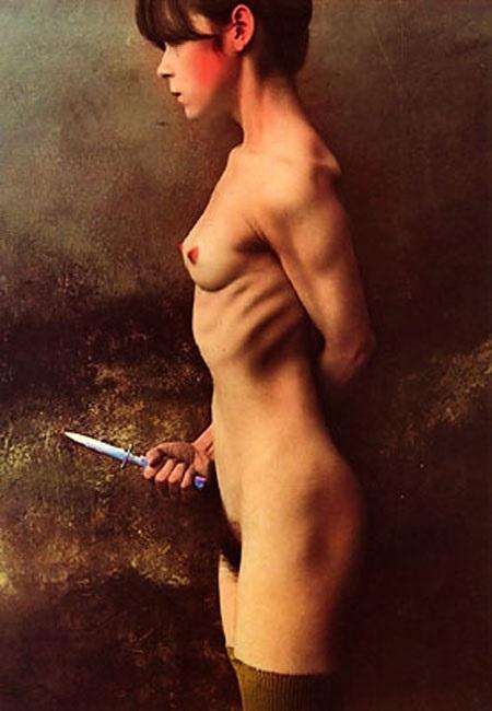 Jan Saudek nude female holding a knife