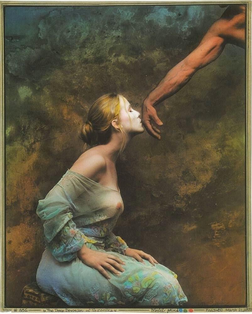 Jan Saudek nude female kissing hand