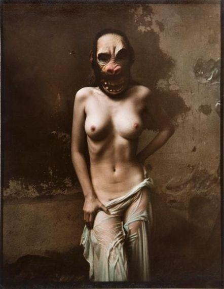Jan Saudek nude female with scary mask