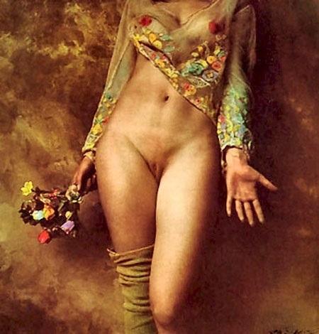Jan Saudek nude holding flowers