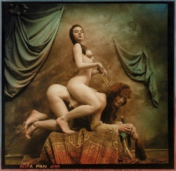 Jan Saudek riding nude females