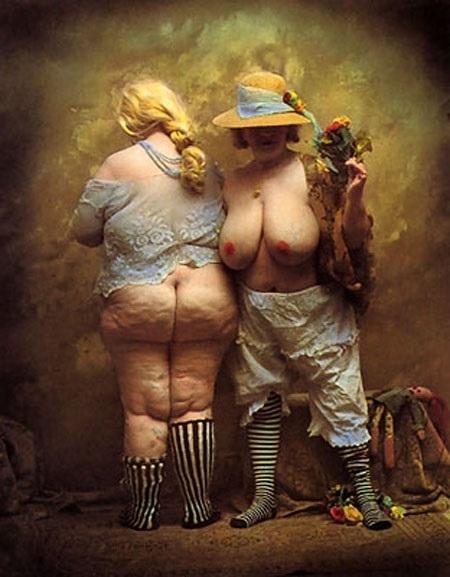 Jan Saudek semi nude corpulent females
