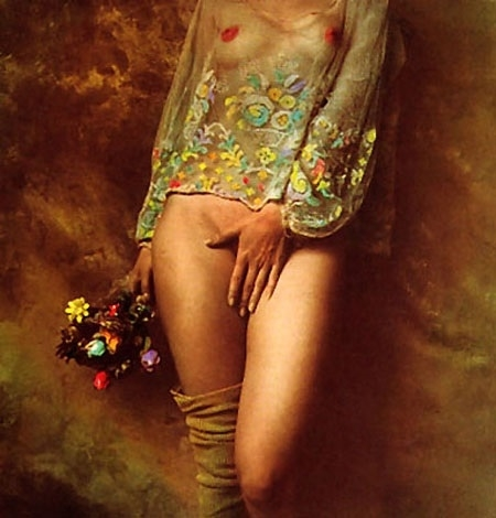 Jan Saudek semi nude holding her hand before her private parts