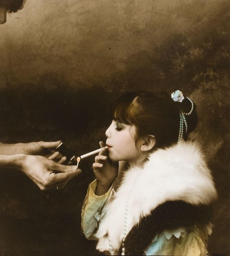 Jan Saudek young girl smoking