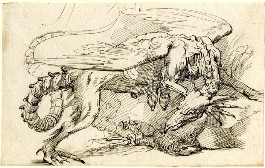 john mortimer Griffin striding over skeleton of a lamb