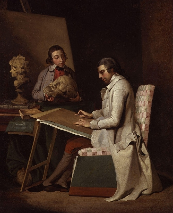 John Mortimer with a student, self-portrait
