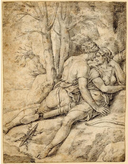 Jupiter disguised as Diana seduces Callisto