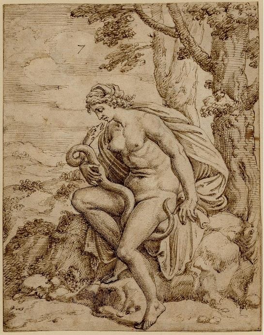 Jupiter seduces Proserpine, the spouse of Hades, in a shape of a serpent