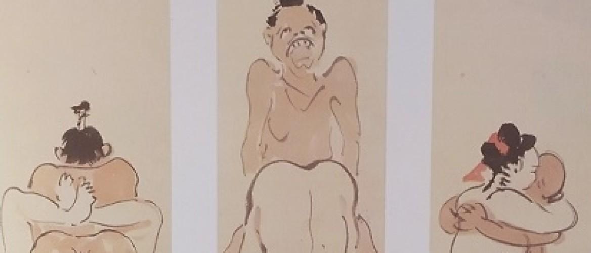 Three Comic Shunga Masterpieces by Kawanabe Kyosai