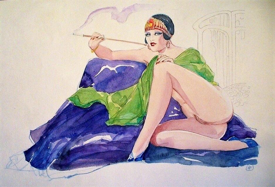 Leone Frollo Smoking Semi Nude
